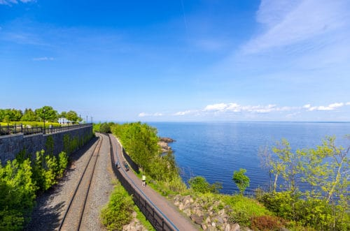 Summer view of The Lakewalk and Lake Superior In Duluth