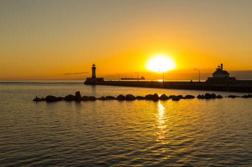 Duluth Lighthouses Sunrise in Canal Park