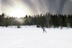 cross-country skiing on a bright sunny day.