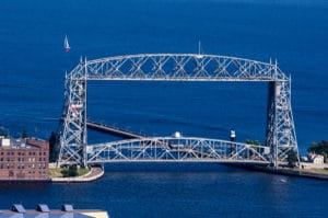 views of Aerial lift bridge in Duluth, Minnesota on a blue Lake Superior during a Bed and Breakfast Duluth MN stay