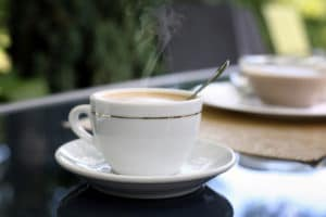 Hot cup of coffee with breakfast during a Bed and Breakfast Duluth MN stay