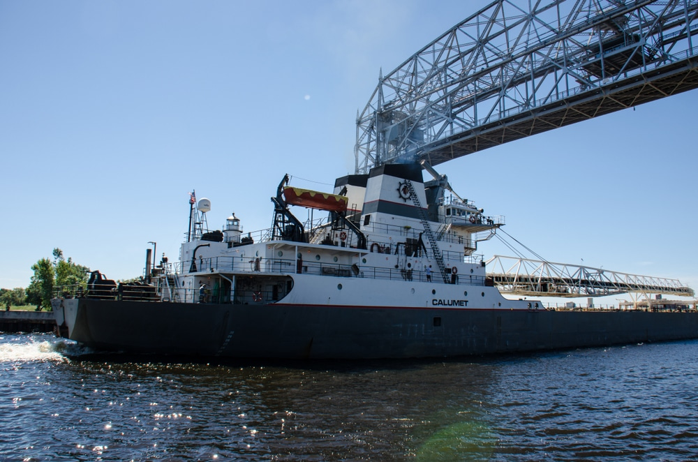 shipwatching from our bed and breakfast in Duluth MN